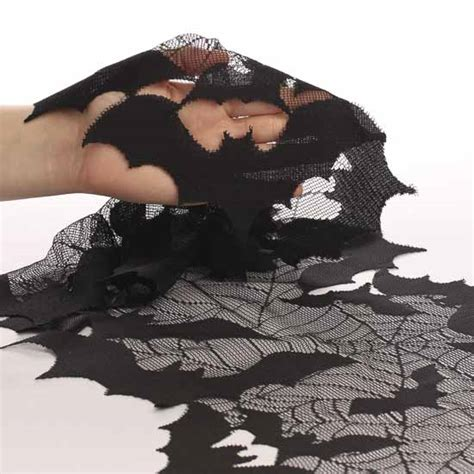 batty and bench halloween going batty black lace table runner table