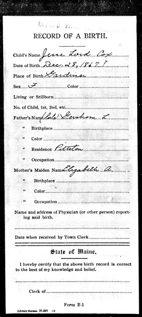Maine Birth Records Family Records Here And There Wayland Of The World War I Era
