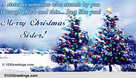 christmas wishes   sister  family ecards