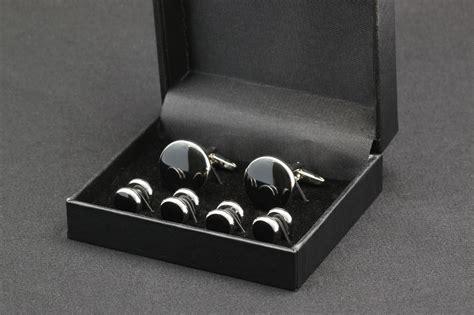 zahira black front seam studs and cufflinks set zahira crystals