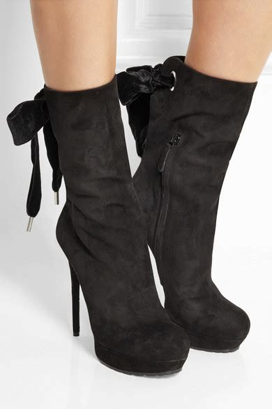 Mcqueen Bow Back Ankle Boots by Mcqueen Bow Embellished Suede Ankle Boots