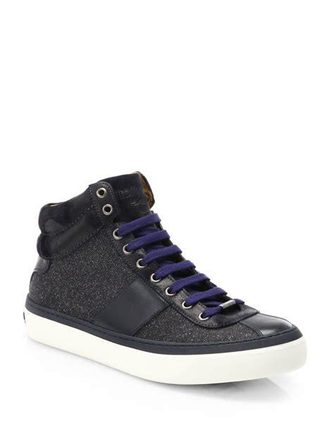 jimmy choo sneakers mens jimmy choo belgravia hightop sneakers in blue for