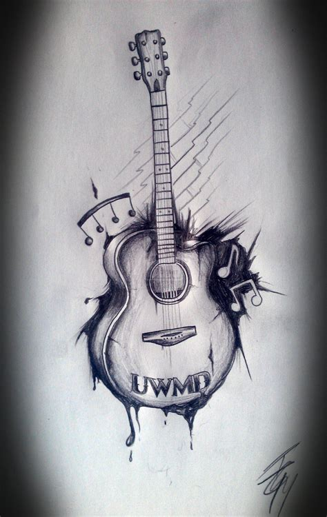 tattoo drawings designs and sketches guitar with flowers search