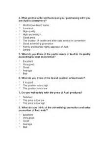 sle of questionnaire survey audi auto market survey questionnaire