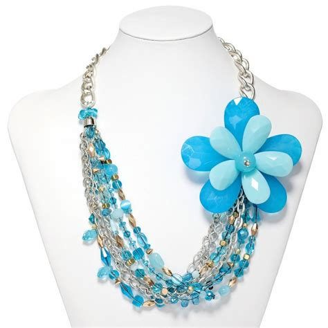 blue beaded necklace multi strand flower necklace silver chain beaded flower