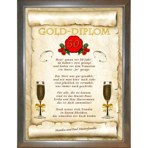 Goldenen Hochzeit by Gold Diplom Zur Goldenen Hochzeit Spruchundwunsch Website