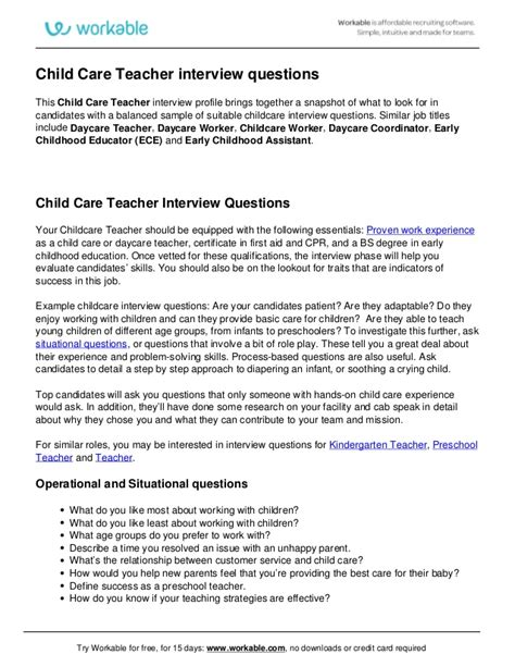 child care questions