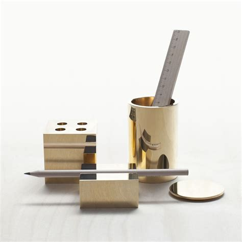 Design Desk Accessories Launch Of Desk Collection In New Solid Brass Finish Featuring Pot 90 Pen Rest Pen Pot