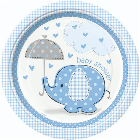 Baby Shower Plates And Napkins For A Boy by 8 Blue Umbrella Elephants Baby Shower Plates Baby