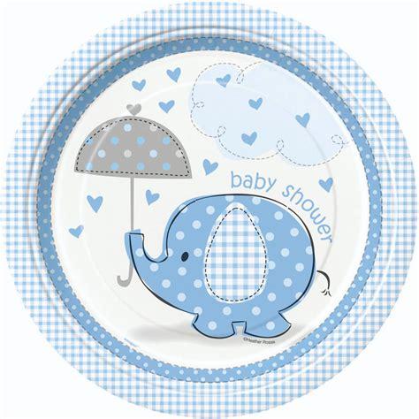 baby shower plates boy 8 blue umbrella elephants baby shower plates baby
