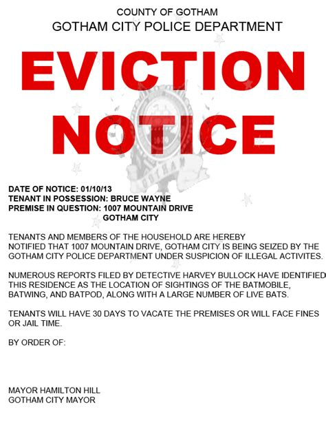 printable baby eviction notice fun fact the wayne manor is outside of gotham city limits