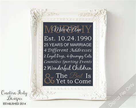 unique wedding anniversary experience gifts at into the blue 25th anniversary gift personalized by creativepartydesigns
