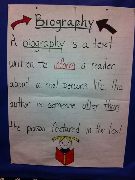 autobiography anchor chart anchor charts pinterest biography anchor chart writing pinterest