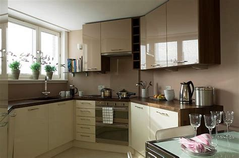 Kitchen Cabinet Ideas For Small Spaces by Glossy Cafe Au Lait Upper Cabinets In Small Space Kitchen