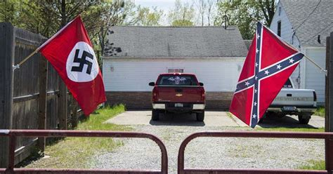 Confuse The Neighbors by Swastika And Confederate Flags Flying At Michigan Home