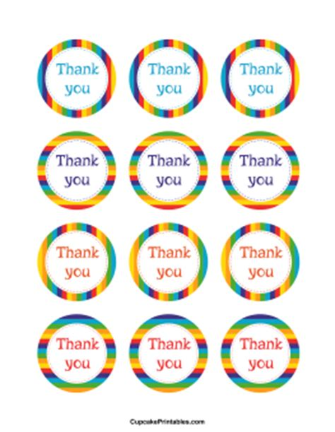 circle thank you card templates free occasion cupcake toppers