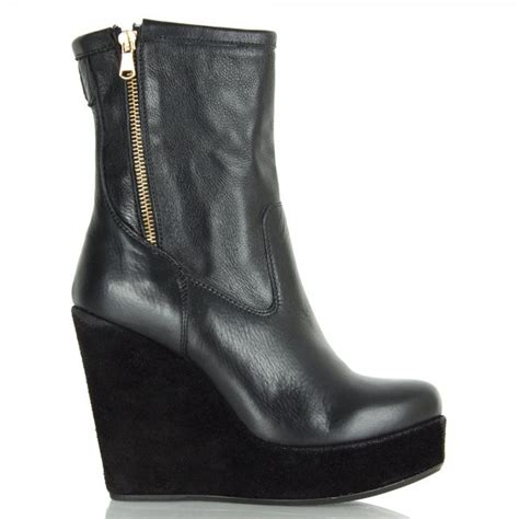 veta black leather wedge ankle boot