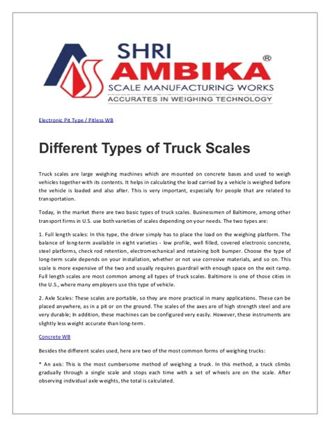 truck scales all types houston different types of truck scales
