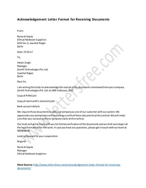 Acknowledgement Letter Receiving Documents Acknowledgement Letter Format For Receiving Documents