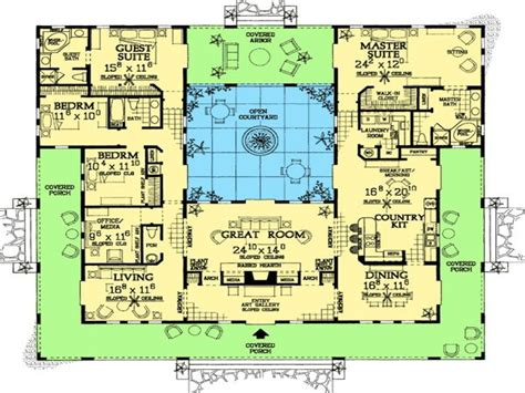 Spanish Hacienda Floor Plans With Courtyards | spanish style home plans with courtyards spanish hacienda