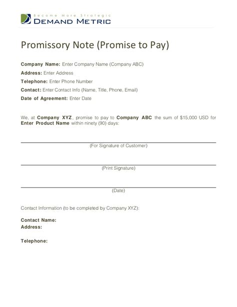 Promise To Pay Template Promise To Pay Note Template