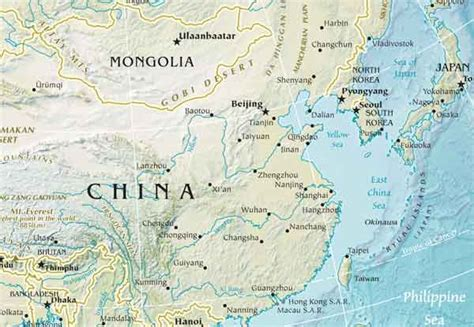 east asia physical map south asia map