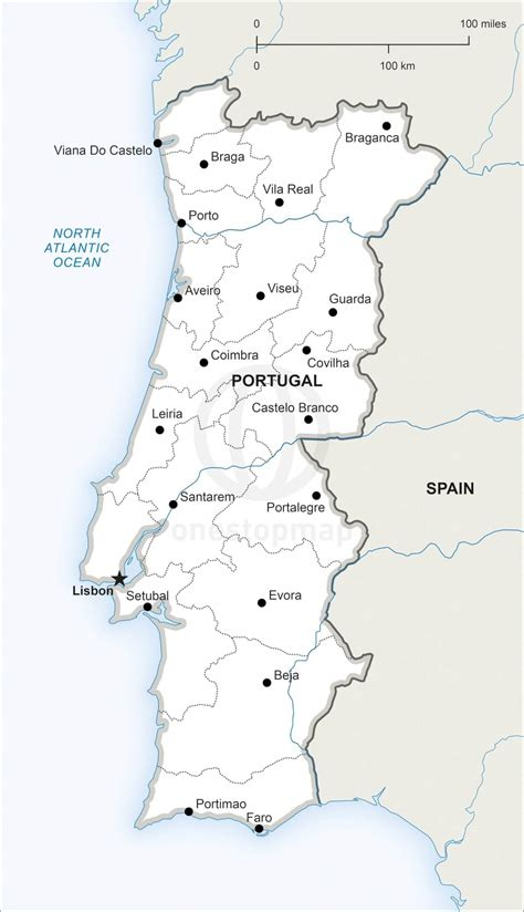 Printable Map Portugal | vector map of portugal political one stop map