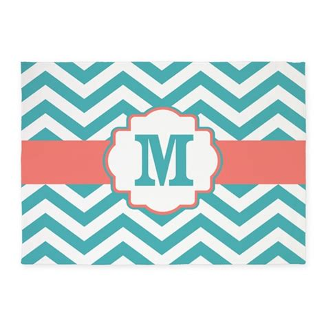 teal chevron area rug teal coral chevron monogram 5 x7 area rug by cupcakesandsprinklesbirthdaytees