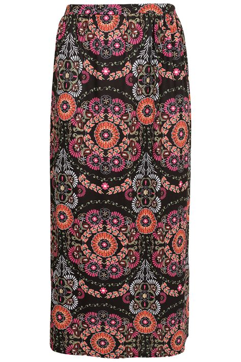 black multi circle print jersey maxi skirt plus