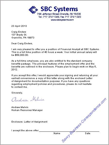 Offer Letter Responsibilities A Offer Letter Format Business Letters Offer Business Letter And