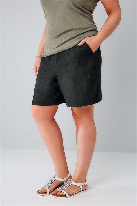 Can I Pull Up My Criminal Record Black Linen Mix Pull On Shorts With Pockets Plus Size 16