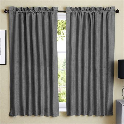 steel grey curtains blazing needles 63 inch blackout curtain panels in steel