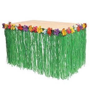 hawaiian themed decorations hawaiian luau pool green table grass flower skirt
