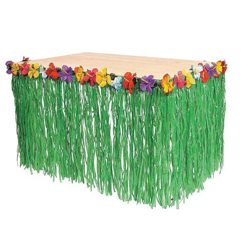 Hawaiian Decorations by Hawaiian Luau Pool Green Table Grass Flower Skirt