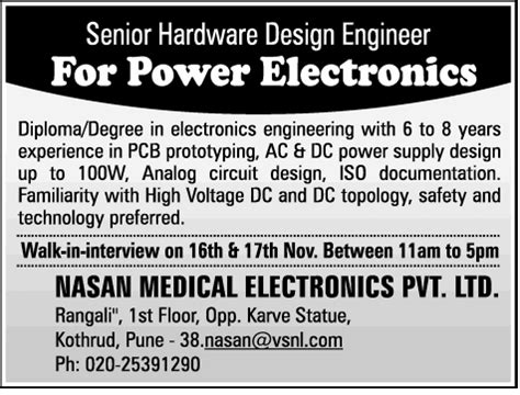 design engineer job pune job senior hardware design engineer pune engineering