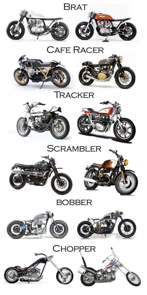 types of motocross bobber chopper scrambler tracker caferacer brat