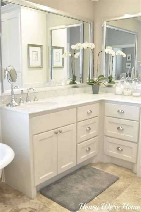 honey we re home master bath sherwin williams anew gray carrara marble silver framed mirrors Master Bathroom Mirror Ideas