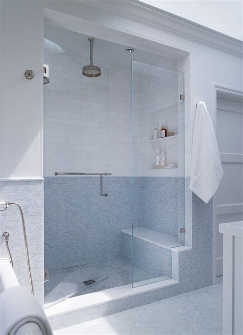 built in shower seat Bathroom Contemporary with black