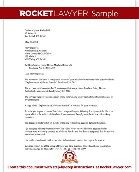 Medicare Appeal Letter Template Medicare Appeal Letter Part B Letter Template With Sle
