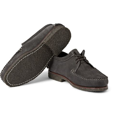 quoddy shoes quoddy tukabuk crepe sole suede derby shoes in gray for