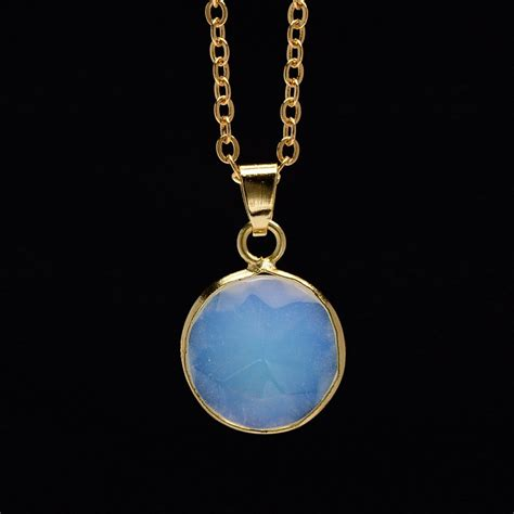 blue opal necklace gold plated natural stone opal pendant necklaces for women