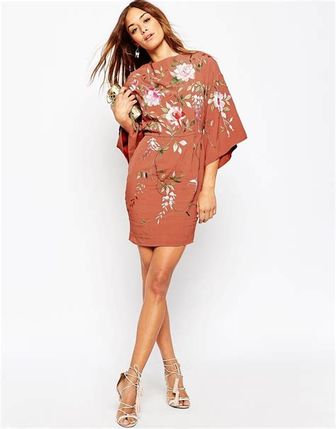 Sleeve Embroidery Dress lyst asos embroidered kimono sleeve mini dress in pink