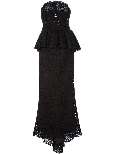 evening dresses dress with peplum hem and lace inserts dolce gabbana peplum lace evening dress in black lyst