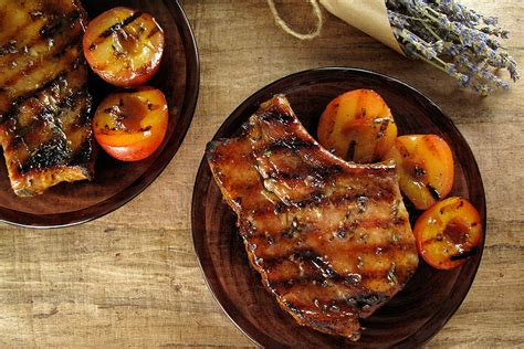 pork dinner recipes grilled lavender thyme pork chops plums with honey