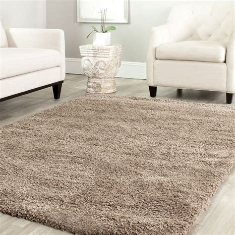 3 X5 Area Rugs Power Loomed Solid Taupe Shag Area Rug 3 X 5 Ebay