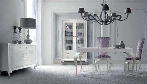 comedor  muebles lacados en blanco alto brillo  plata