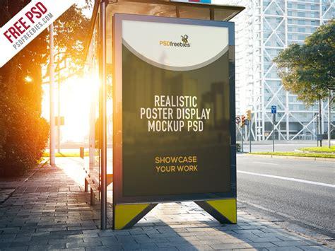 realistic poster display mockup free psd psdfreebies com