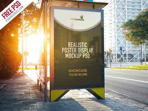 Realistic Poster Display Mockup Free PSD   PSDFreebies.com
