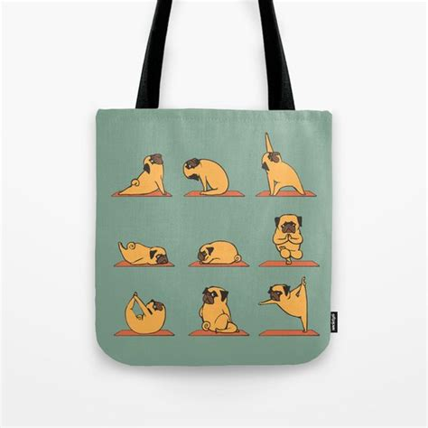 pug tote bag by huebucket society6