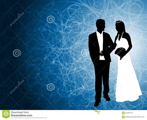 wedding couple   abstract blue background stock